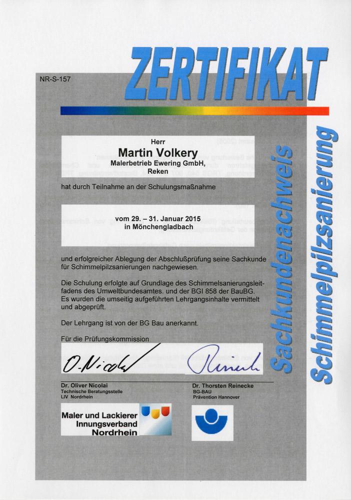 Maler und Lackierer Innungsverband Nordrhein Zertifikat Schimmelsanierung