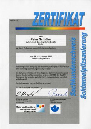 Mitarbeiter Zertifikat Peter Schlüter Bereich Schimmelpilzsanierung