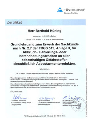 TÜV Rheinland Zertifikat Asbest Berthold Hüning Firma Ewering.