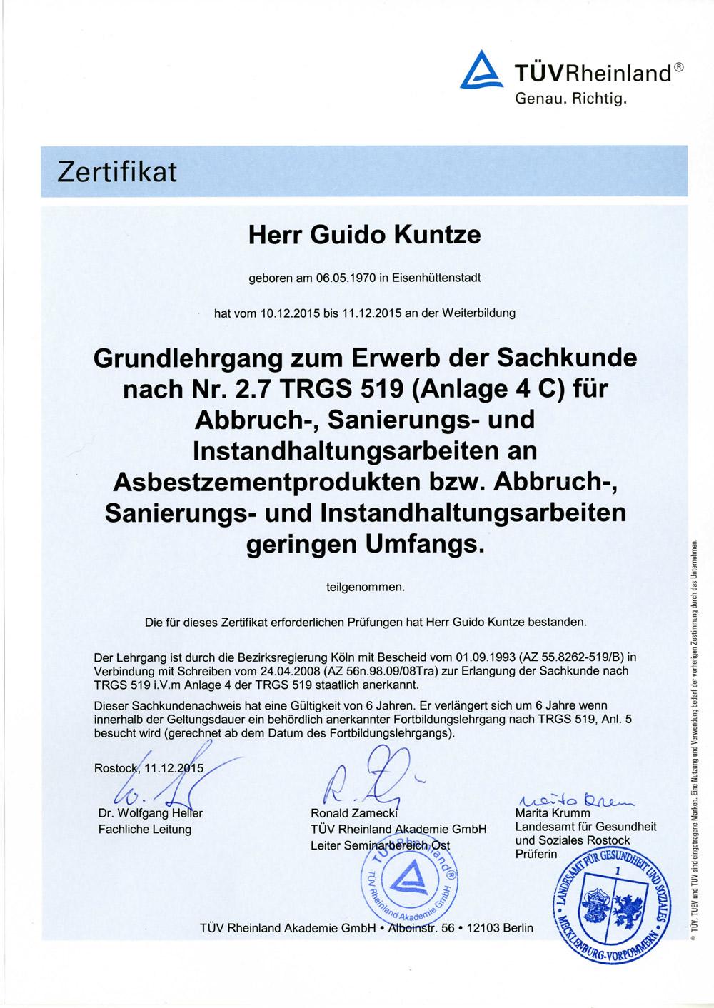Asbestbodensanierung Zertifikat TÜV Rheinland von der Firma Ewering.