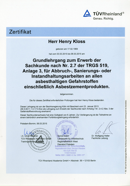 Henry Kloss Asbestbodensanierung Zertifikat vom TÜV Rheinland.