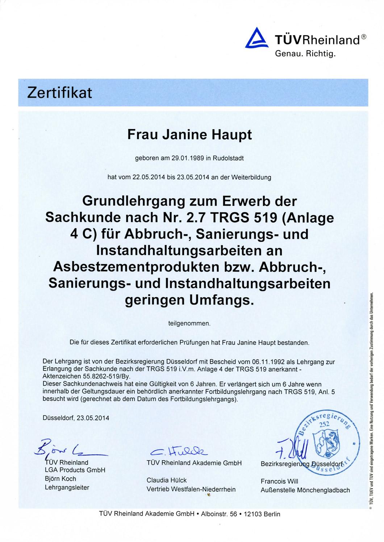 Zertifikat vom TÜV Rheinland Asbestsanierung Janine Haupt.