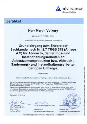 Zertifikat Martin Volkery Asbestsanierung TRGS 519 Anlage 4C.