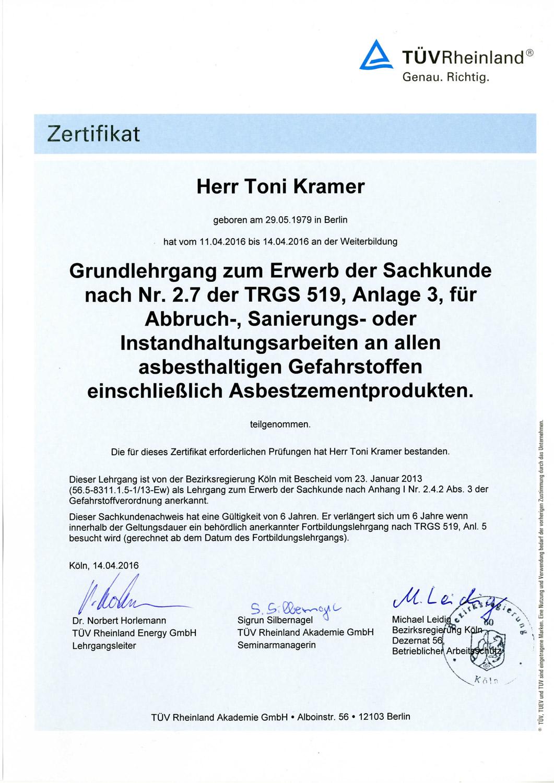 Toni Kramer Zertifikat zur Asbestsanierung Firma Ewering.