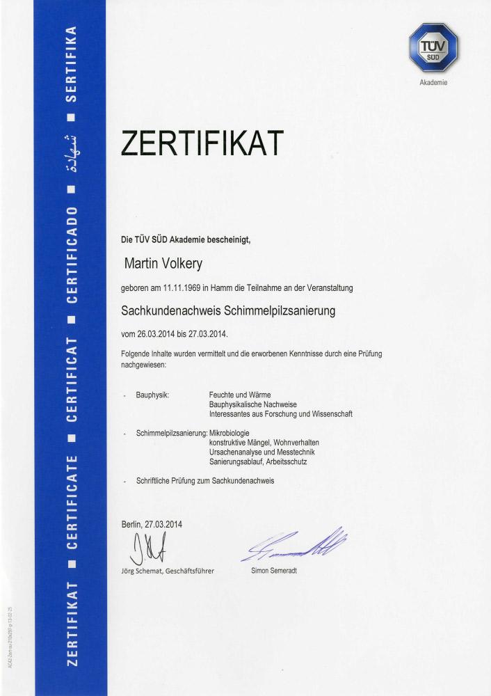 Nachweis und Zertifikat im Bereich der Schimmelpilzsanierung