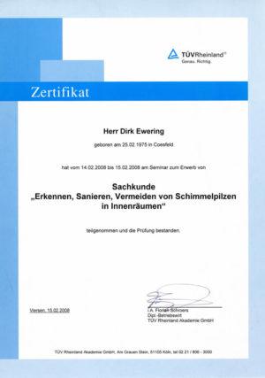 Fachkundeschulungs Zertifikat im Bereich der Schimmelsanierung