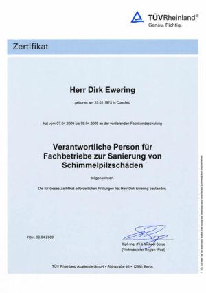 Zertifikat vom TÜVRheinland im Bereich der Schimmelpilzsanierung