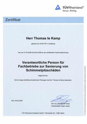Zertifikat zur Sanierung von Schimmelplizschäden