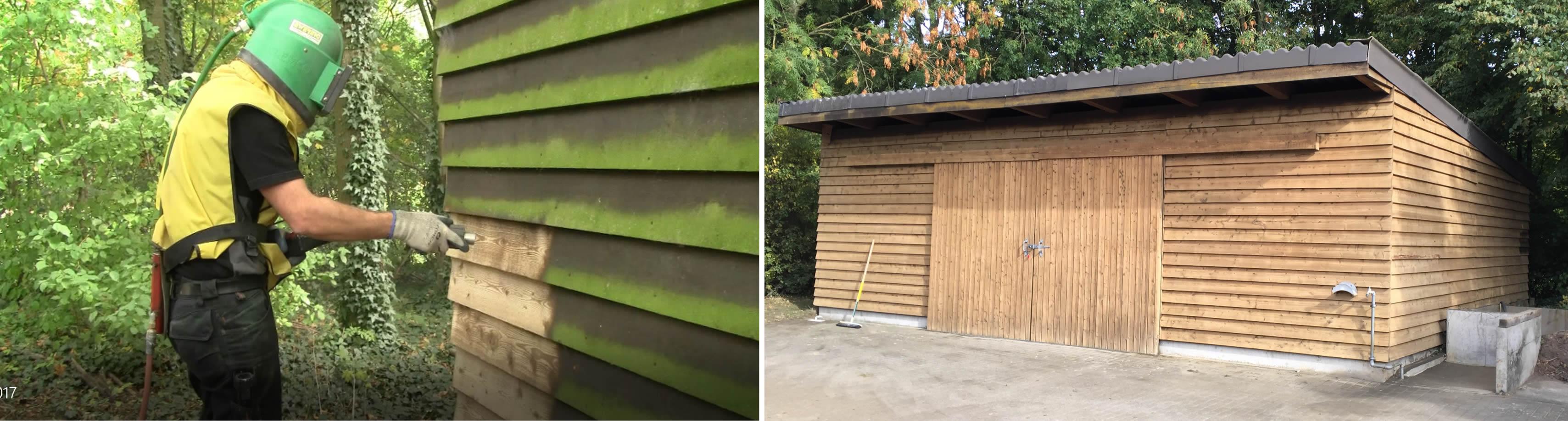 Entfernung von Verwitterung & Altbeschichtung Holzhütte