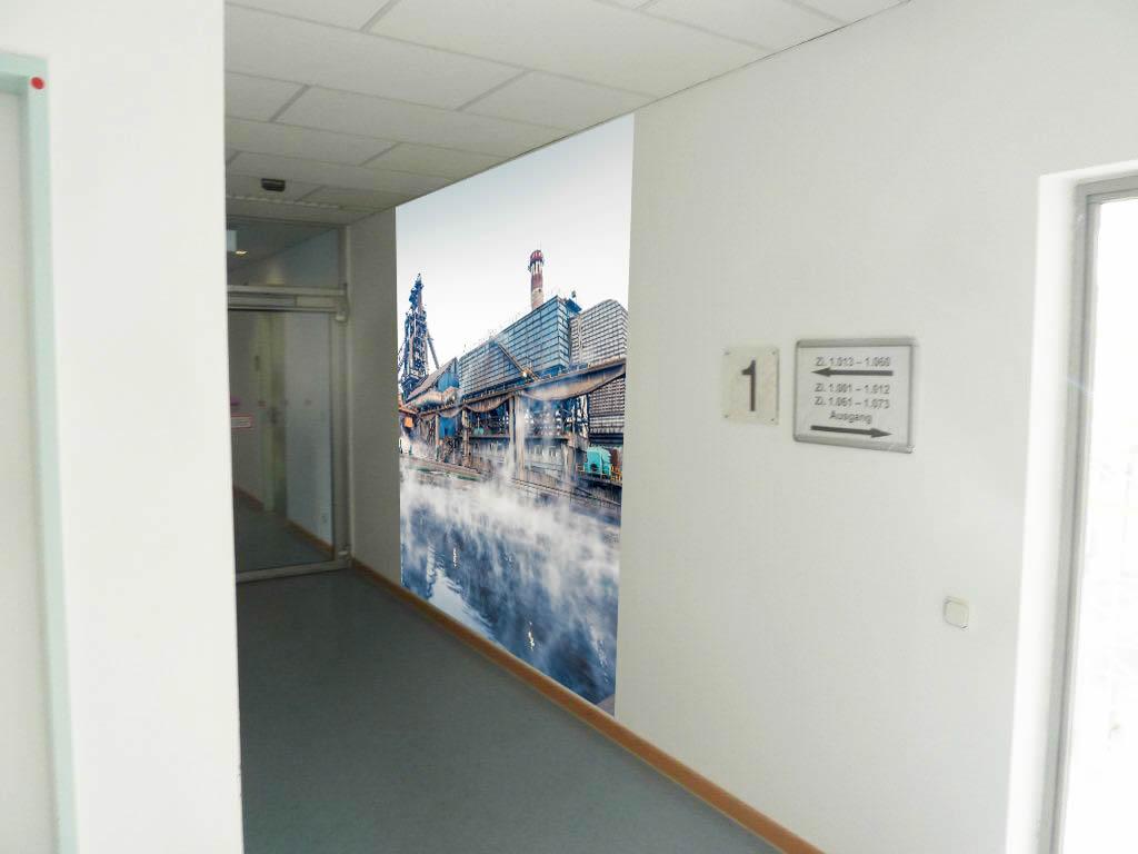 Fotomontage individuelle Fototapete Agentur für Arbeit Dortmund Flur Wand