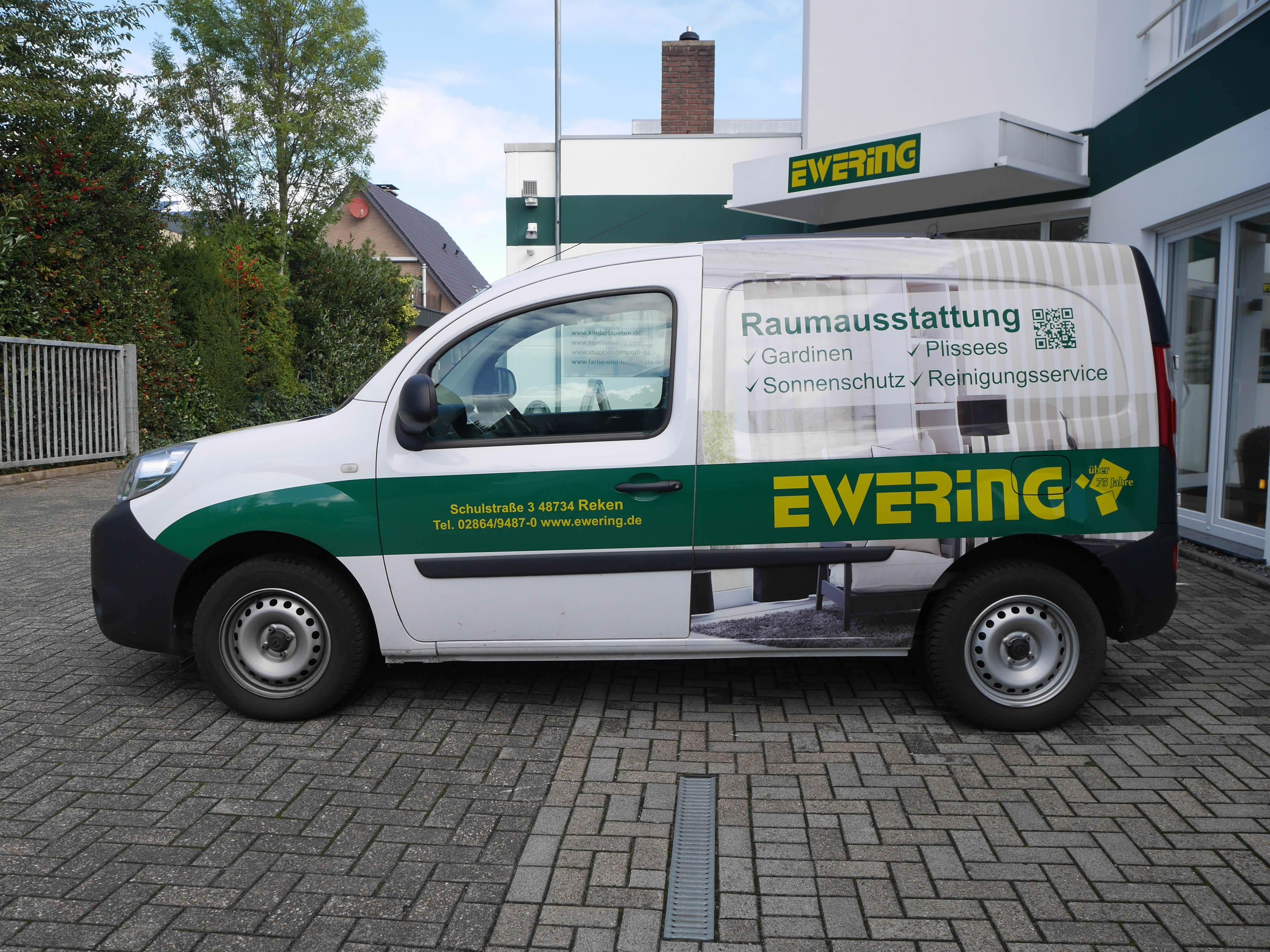 Ewering Raumdesign Raumausstattung Firmenfahrzeug Werbetechnik Kangoo Fahrzeugbeschriftung