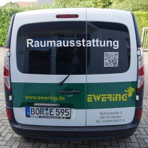 Heck Firmenfahrzeug Kangoo Ewering Raumdesign Raumausstattung Fahrzeugbeschriftung Werbetechnik