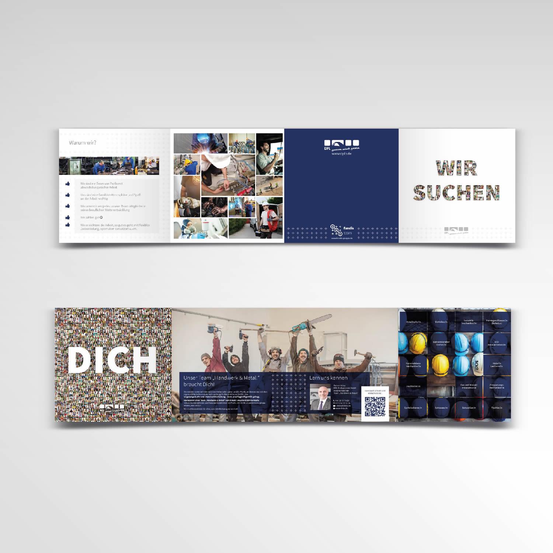 Printprodukt Flyer Faltflyer DPL Wir suchen dich achtseitig