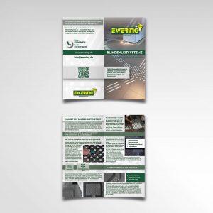 Printprodukt vierseitig Faltflyer Infoflyer Ewering GmbH Blindenleitsystem
