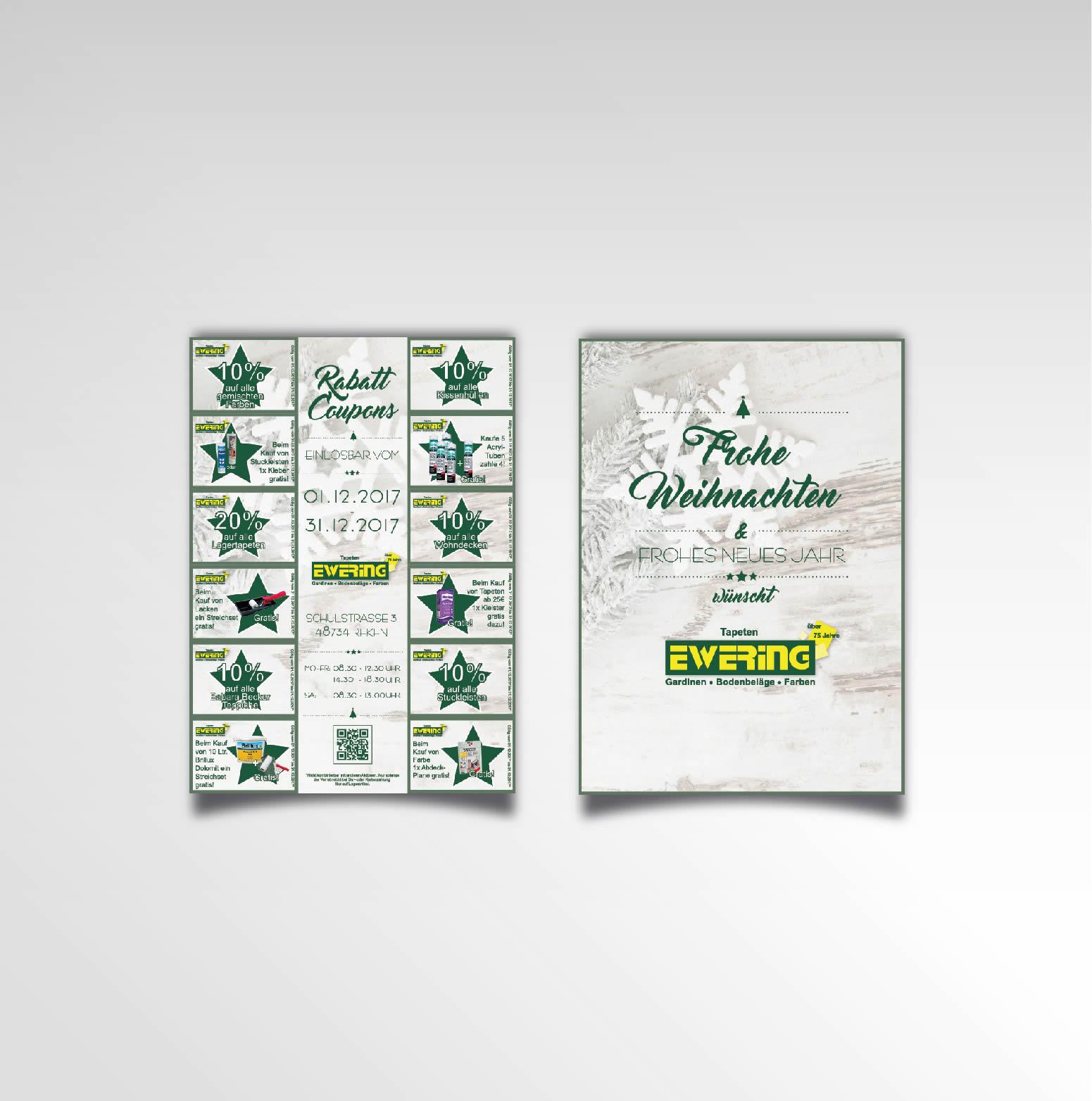 Ewering Raumdesign Flyer zweiseitig Rabattcoupons Printprodukt Weihnachtsaktion