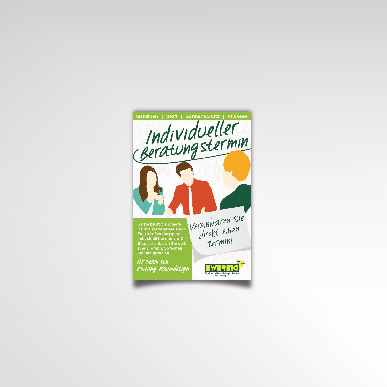 Individueller Beratungstermin Flyer Infozettel Beratung Ewering Raumausstattung Printprodukt