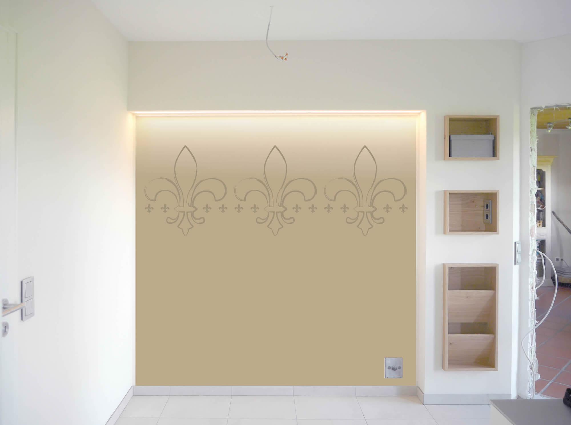 Küche individuelle Fototapete Lilien indirekte Beleuchtung Fotomontage