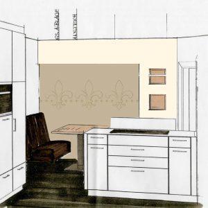 Individuelle Fototapete Lilien Küche Entwurf Zeichnung Vorschlag