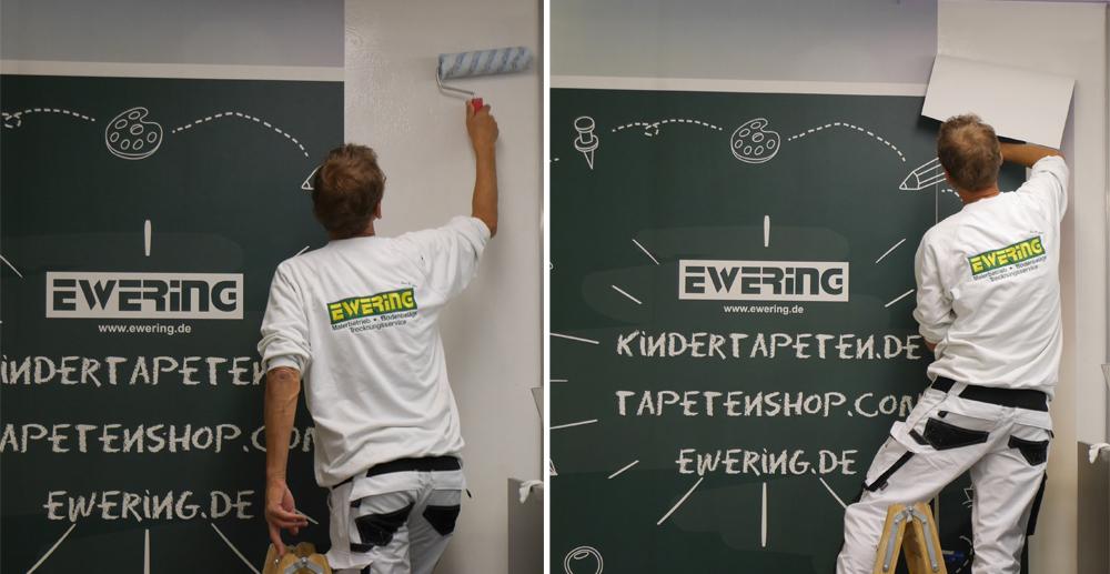 Anbringung Arbeit Ewering Raumdesign Fachmarkt Kinderspielecke individuelle Fototapete tapezieren