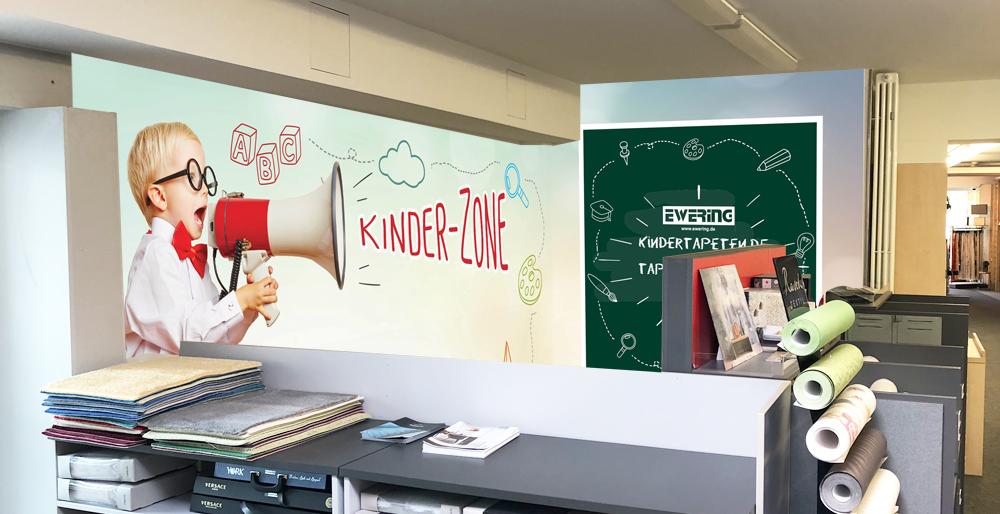 Fotomontage Kinderspielecke Ewering Raumdesign Fachmarkt individuelle Fototapete