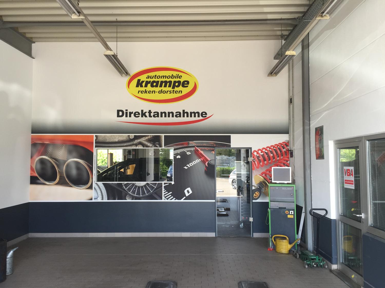 Automobile Krampe individuelle Fototapete Werkstatt nachher
