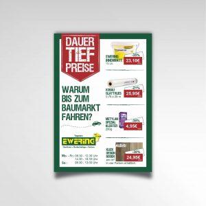 Dauertiefpreise Plakat Kundenstopper Ewering Raumdesign Printprodukt