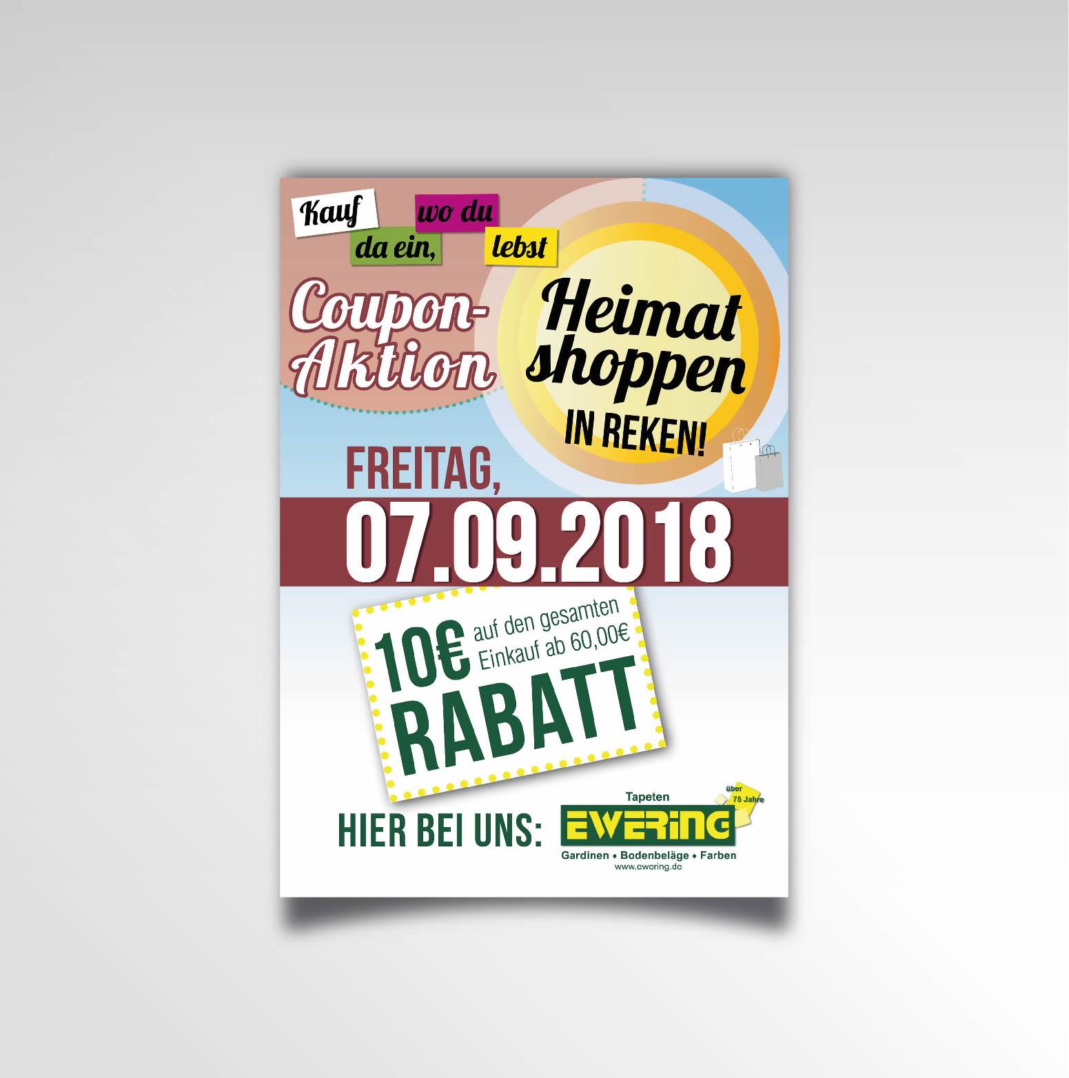 Heimatshoppen Plakat Ewering Raumdesign Rabattaktion Printprodukt