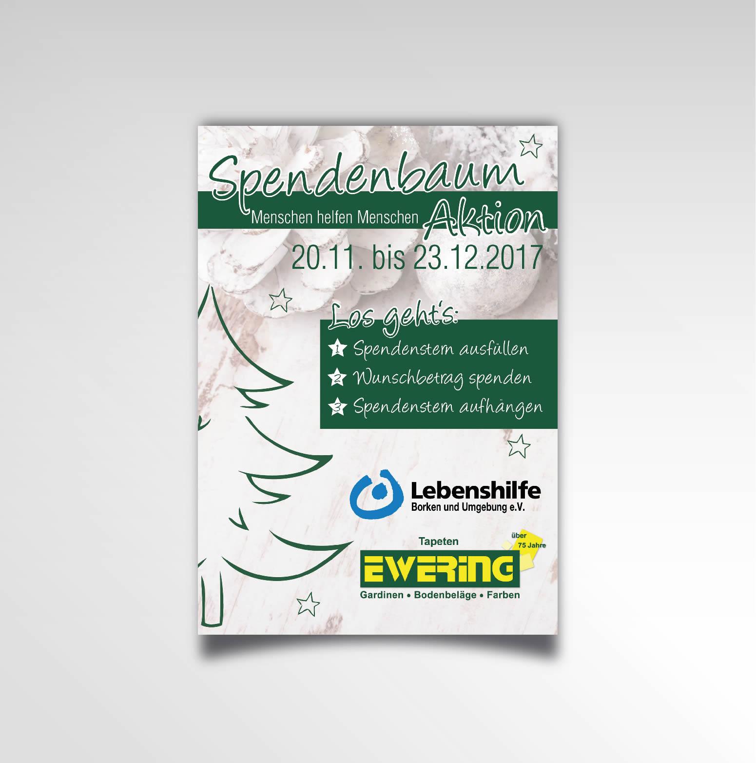 Plakat Poster Printprodukt Ewering Raumdesign Weihnachten Spendenbaum-Aktion