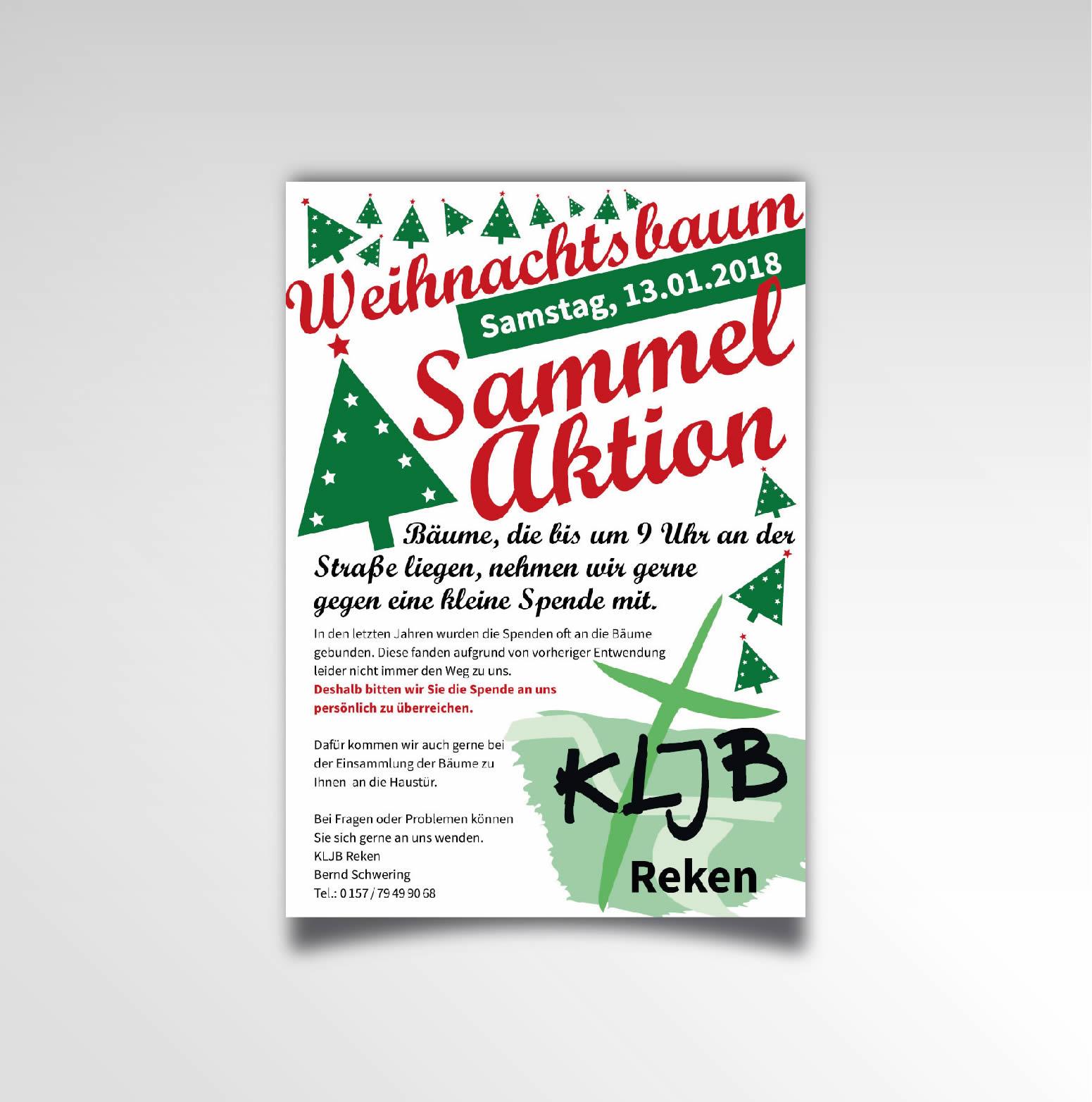 Weihnachten Printprodukt Plakat KLJB Reken Weihnachtsbaumaktion