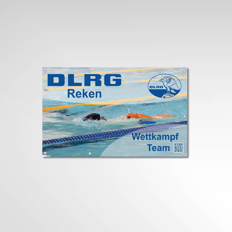 Banner Wettkampf Team Printprodukt Werbemittel DLRG Reken