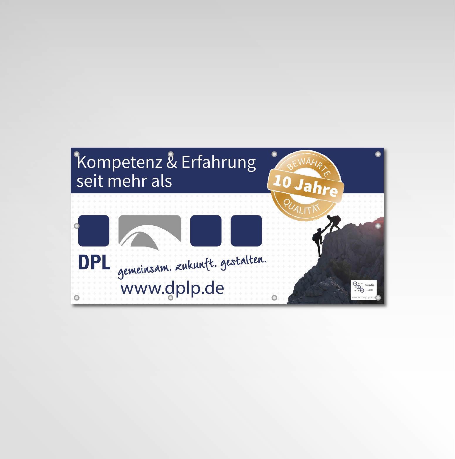 Banner DPL Werbemittel Printprodukt 10 Jahre