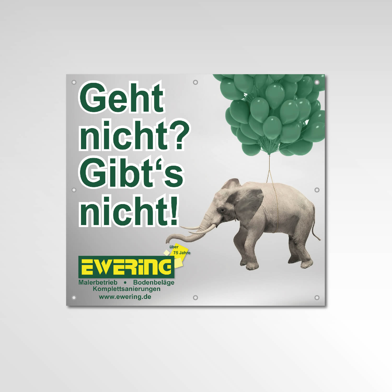 Gerüstbanner Werbemittel Printprodukt Banner Elefant Ewering Berlin GmbH
