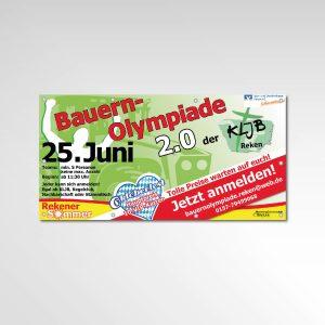 Bauernolympiade Rekener Sommer KLJB Reken Marketinggemeinschaft Reken Banner Werbemittel Printprodukt