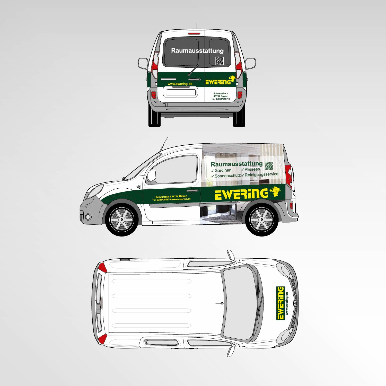 Layout Entwurf Fahrzeugbeschriftung Kangoo Ewering Raumdesign Raumausstattung