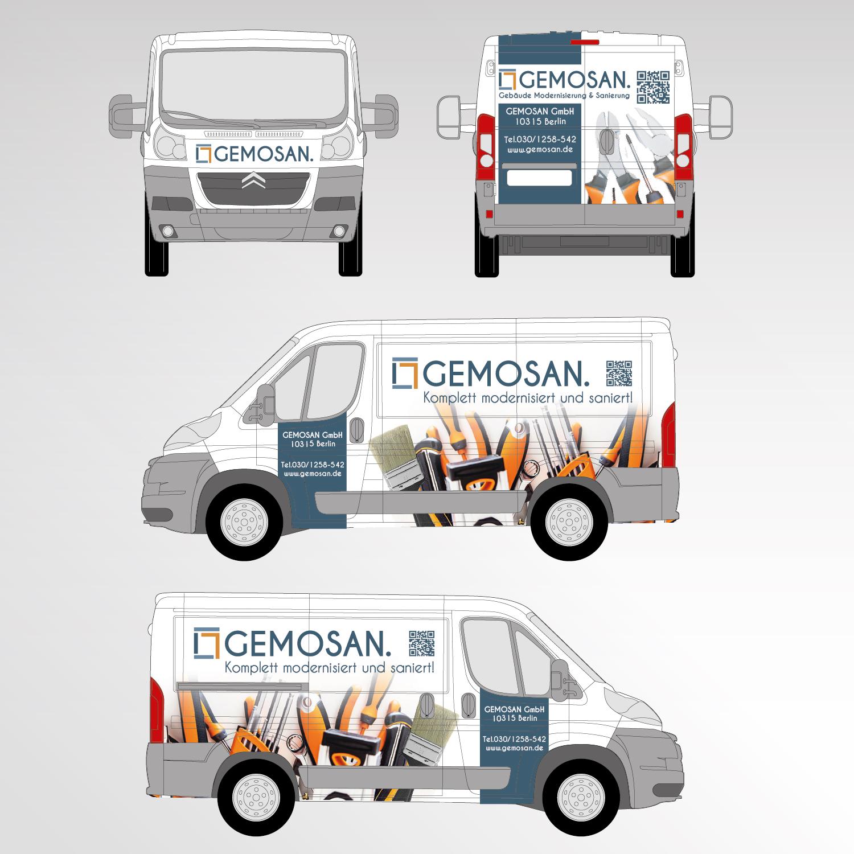 Gemosan Fahrzeugbeschriftung Transporter Werbetechnik