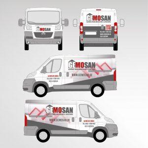 Transporter Fahrzeugbeschriftung Werbetechnik Gemosan