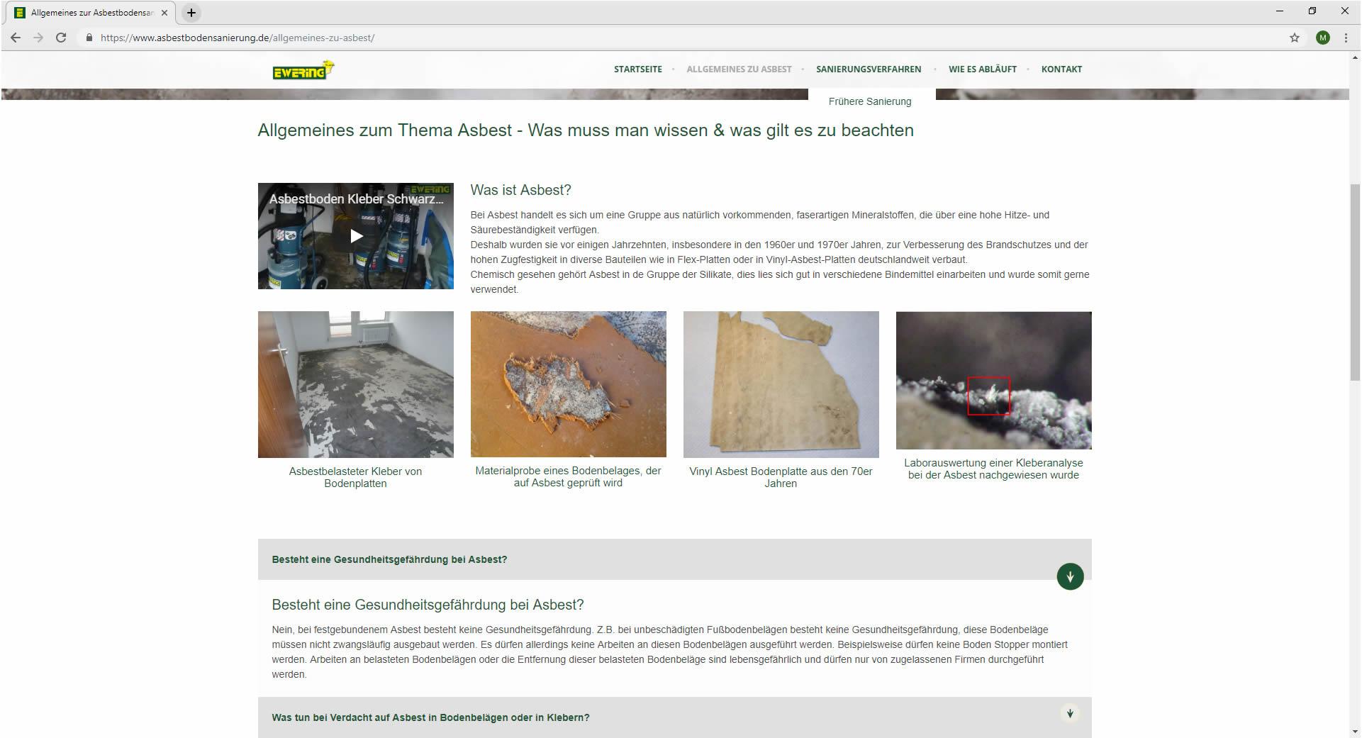 Allgemeines zu Asbest Ewering Website asbestbodensanierung.de Webdesign
