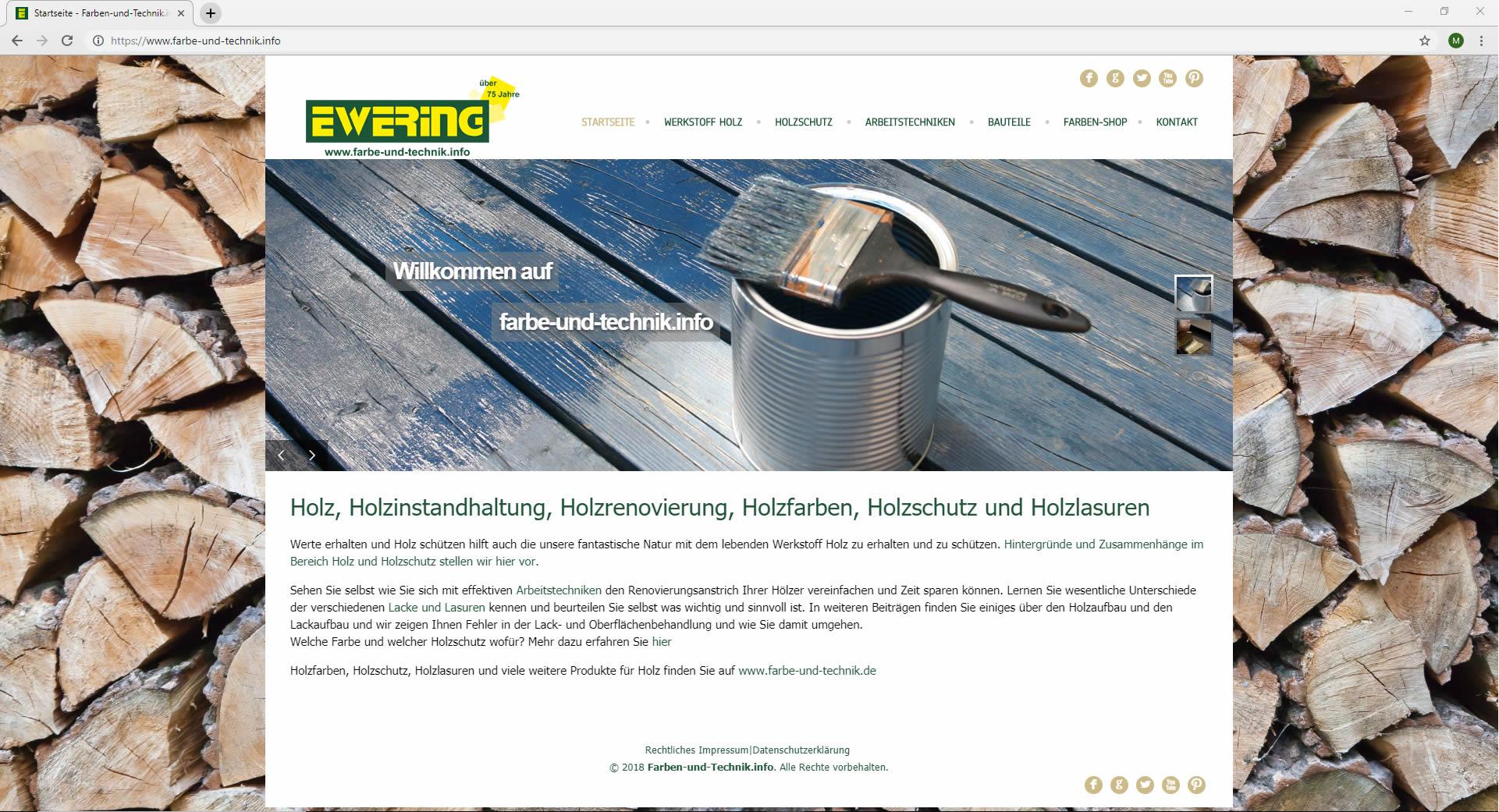 Startseite Ewreing farbe-und-technik.info Webdesign Website