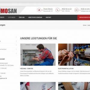 Infoseite Leistungen Gemosan responsive Webdesign