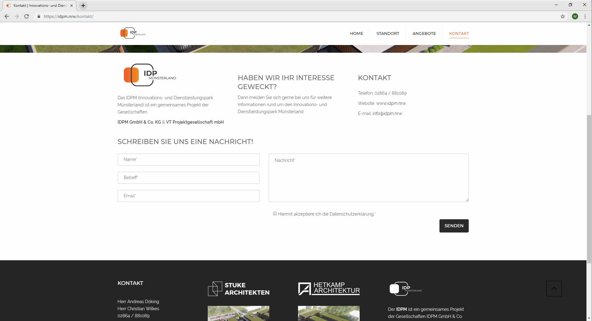 Kontaktformular idpm.nrw Webdesign Kontakt IDPM