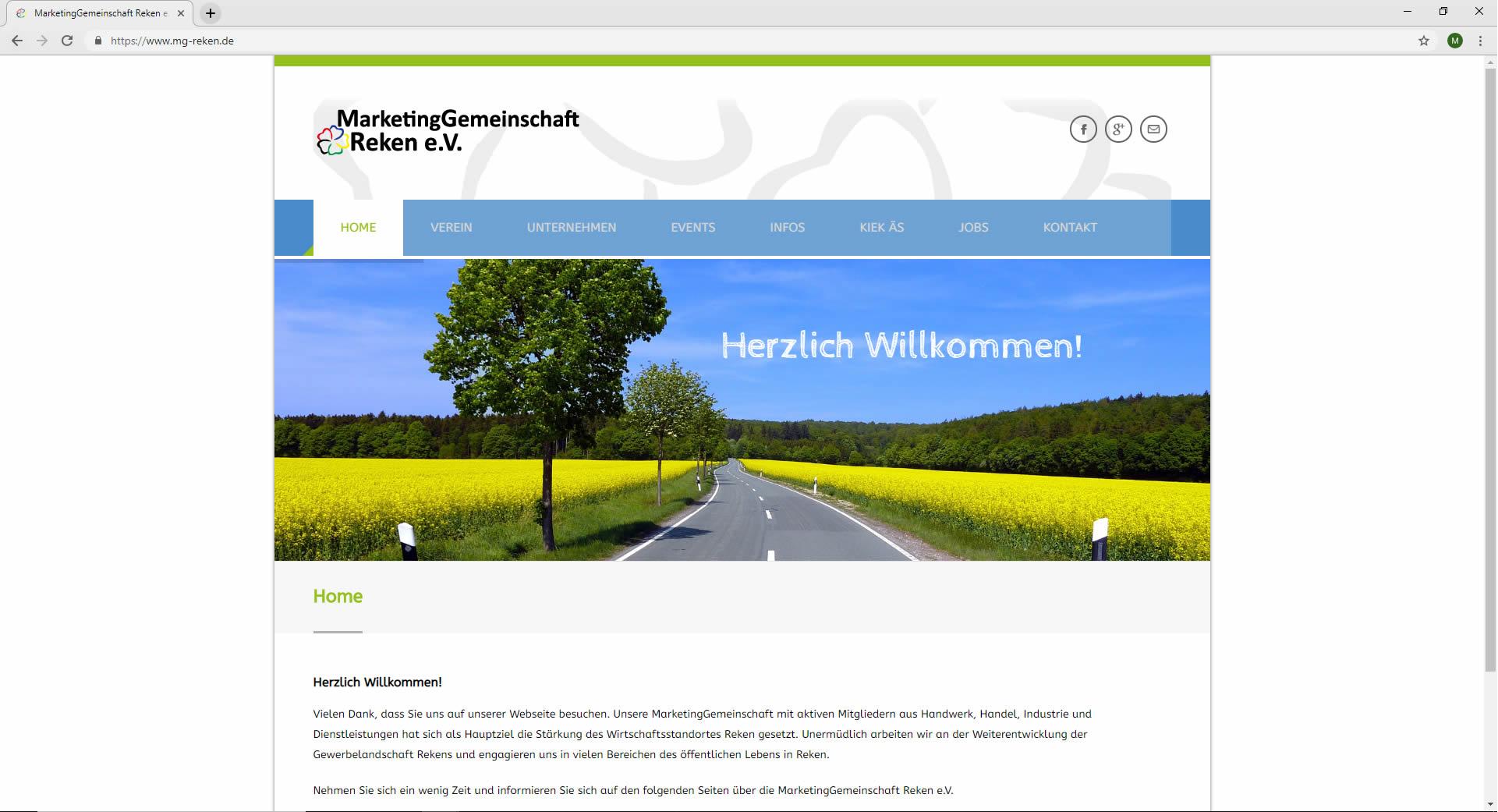 Home Startseite Marketinggemeinschaft Reken Website mg-reken.de Webdesign