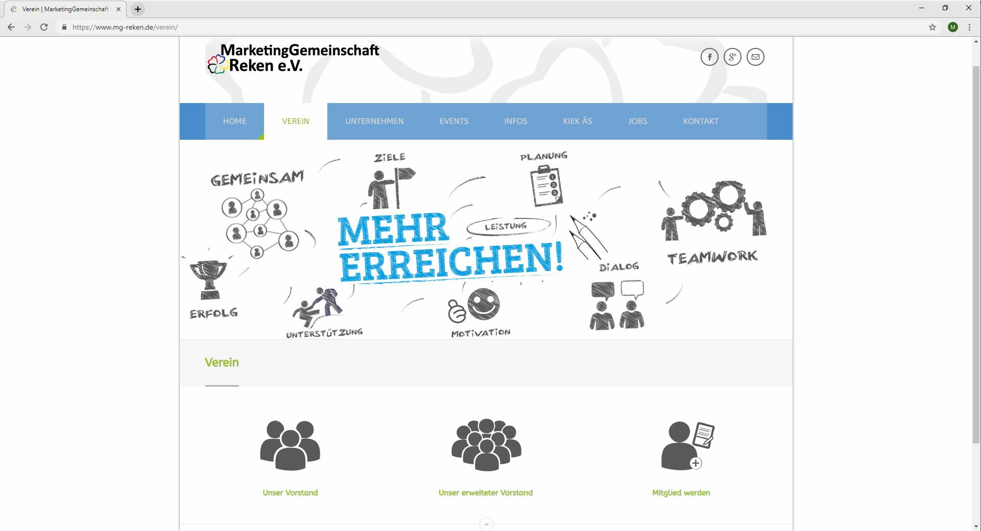 Infoseite Verein Webdesign Marketinggemeinschaft Reken Website mg-reken.de